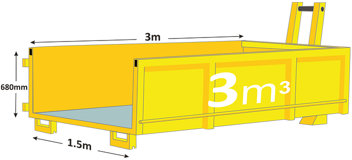 3m walk in bin in yellow with measurements