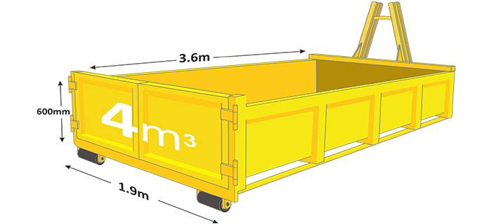 4m walk in bin in yellow with measurements